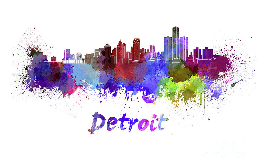 900x590 Detroit Skyline In Watercolor Painting By Pablo Romero
