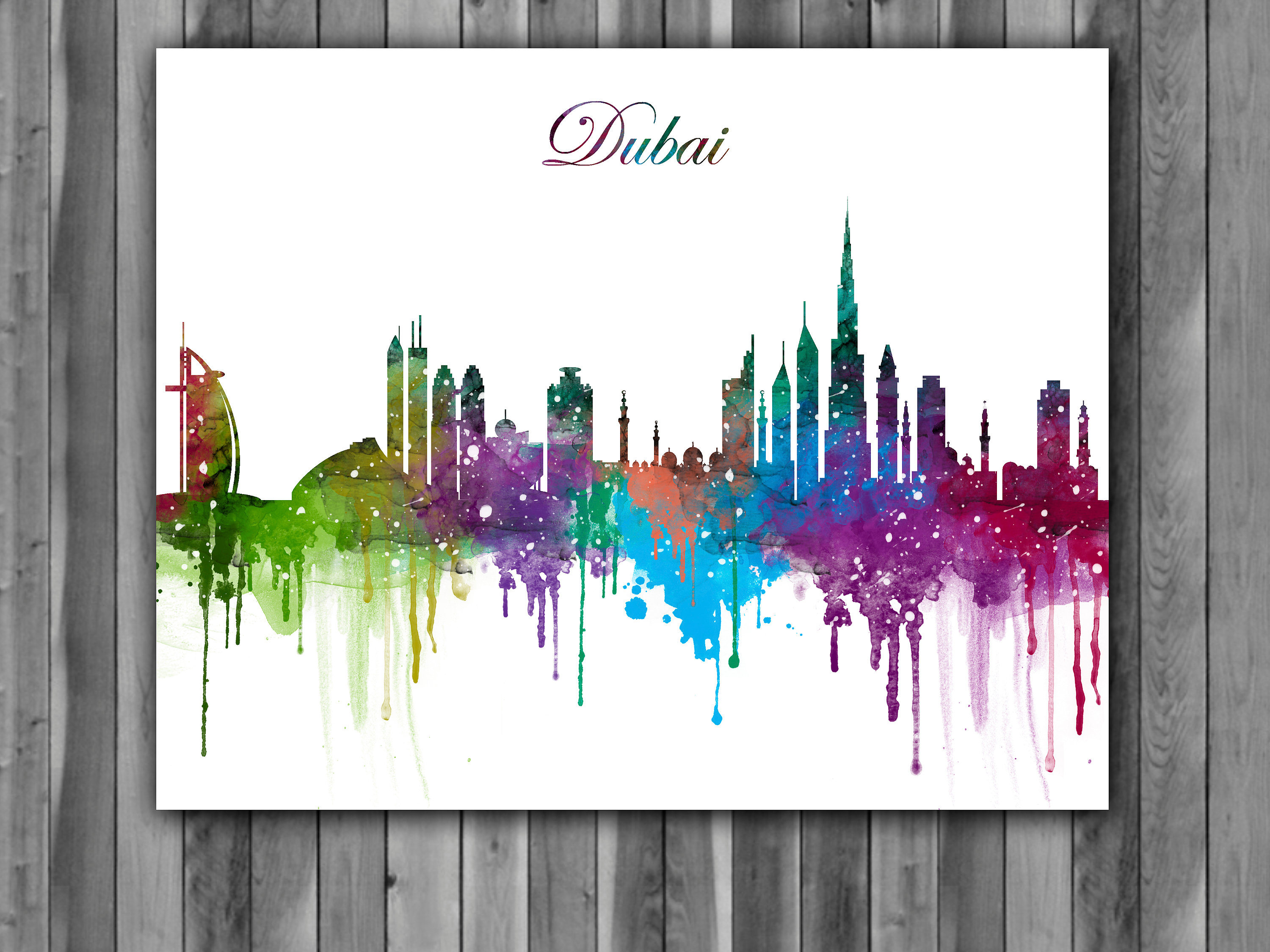3000x2250 Dubai Skyline Watercolor Print, Dubai Skyline Art, Dubai Skyline