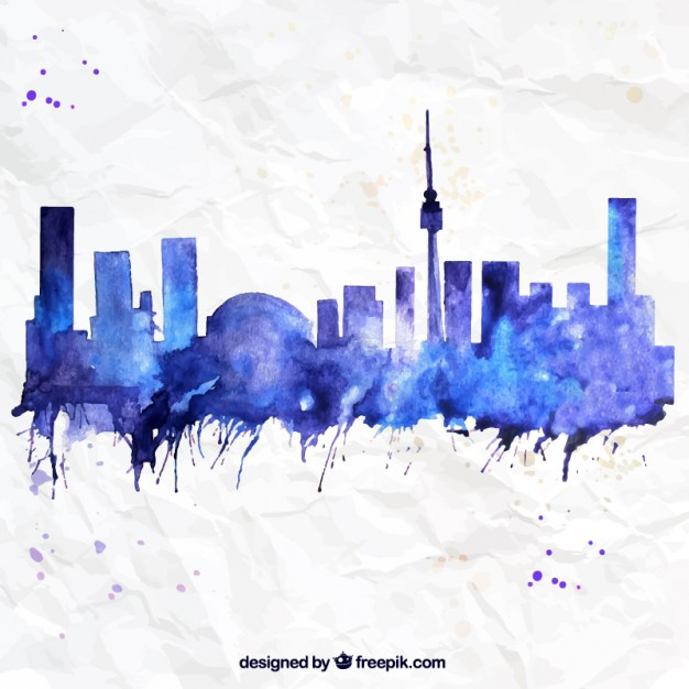 626x626 Hand Painted Toronto Skyline Vector Free Download