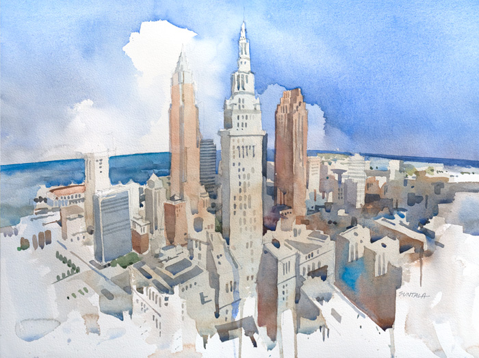 700x523 Jeff Suntala Watercolors Original Watercolor Cleveland Skyline