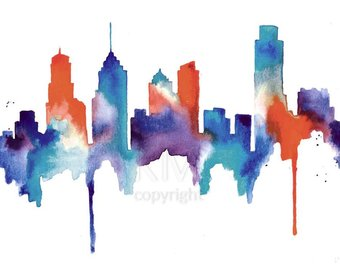 340x270 Kansas City Skyline Print Watercolour Wall Art Modern
