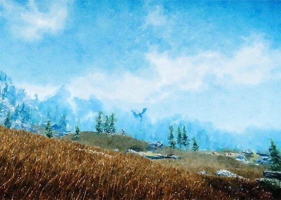 570x407 Skyrim Game Art Digital Poster Watercolor Poster Walle Etsy