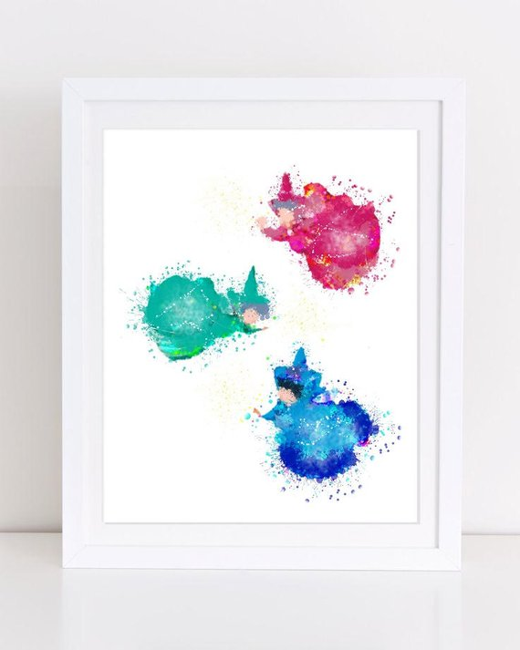 570x713 70% Sleeping Beauty Fairies Poster Fairy Poster Watercolor Etsy
