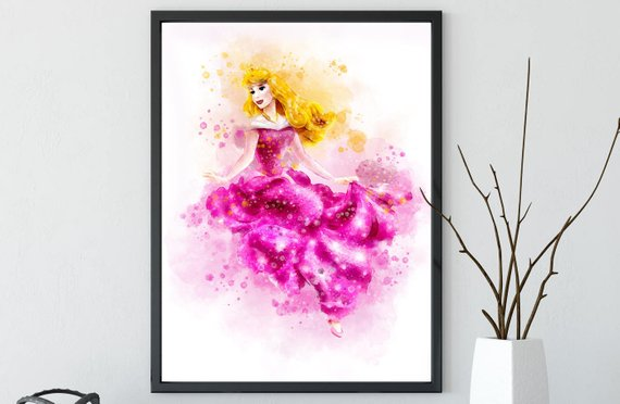570x372 Disney Princess Aurora Sleeping Beauty Watercolor Poster Print Etsy