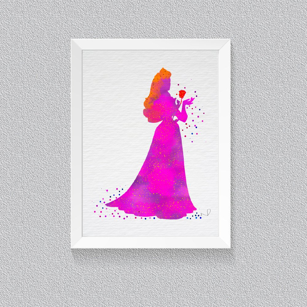 1000x1000 Disney Princess Aurora Sleeping Beauty Watercolor Print