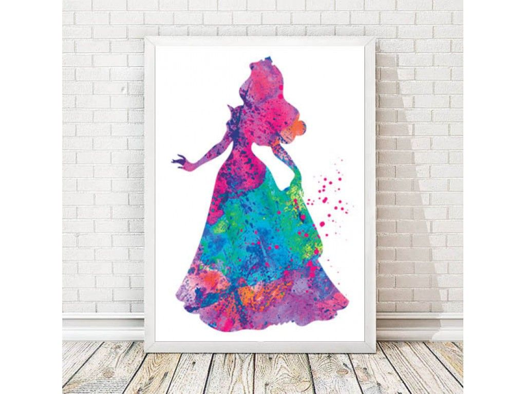 1024x768 Princess Aurora Watercolor Art Print Sleeping Beauty Watercolor