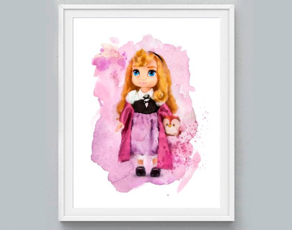 570x448 Princess Print Sleeping Beauty Watercolor Baby Aurora Etsy