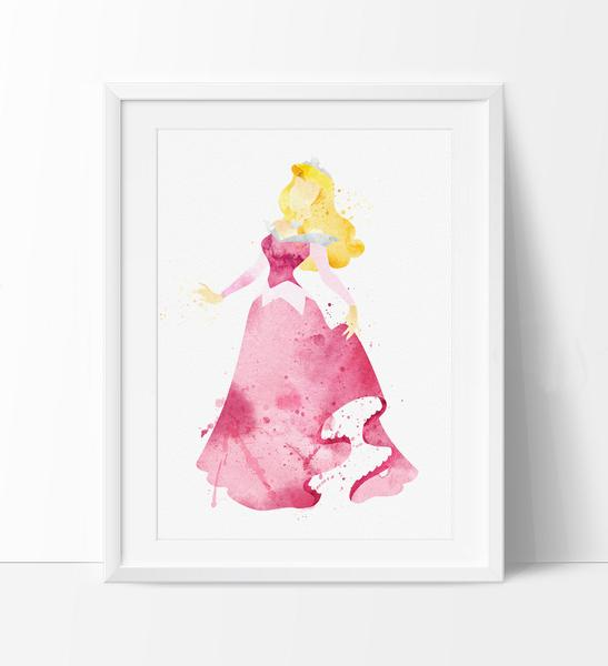 547x600 Sleeping Beauty Watercolor Print, Disney Art Print, Disney
