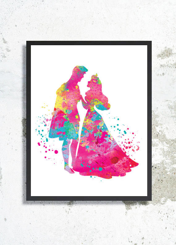 570x792 Sleeping Beauty Watercolor Print Princess Aurora