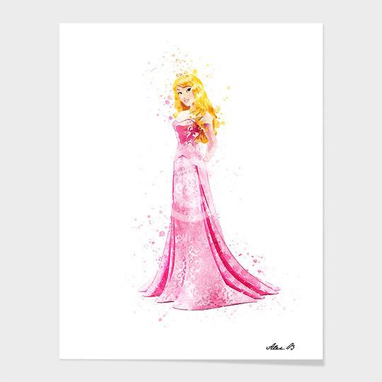 540x540 Sleeping Beauty Disney Princess Watercolor Art Print