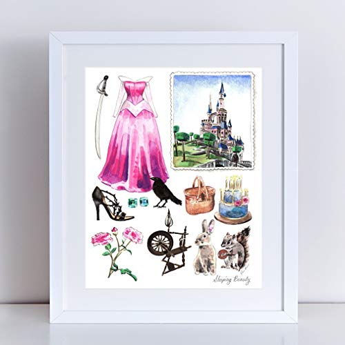 500x500 Sleeping Beauty Art Princess Aurora Print Disney