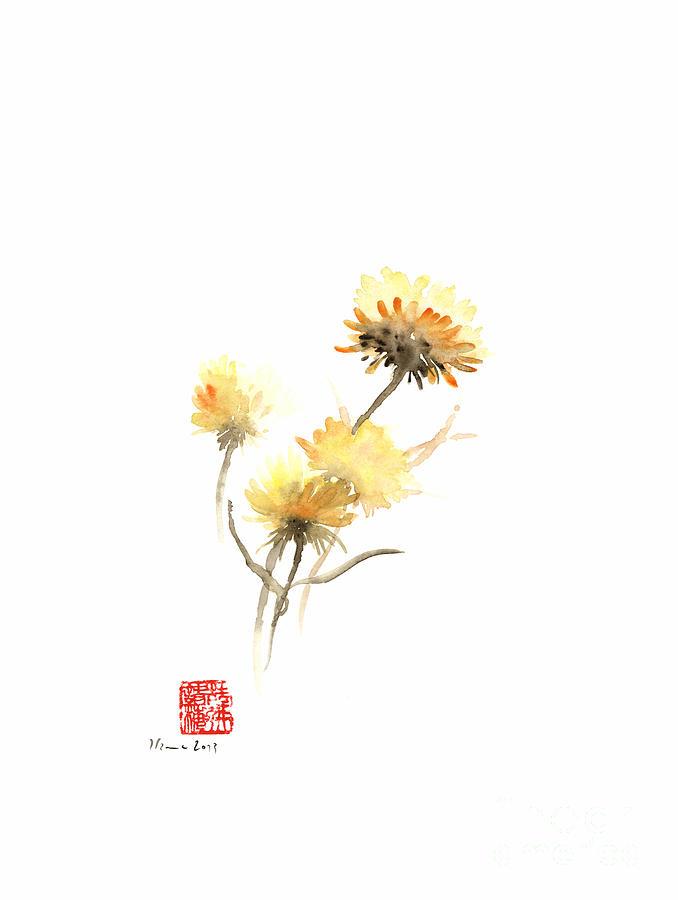 678x900 Sun Flowers Yellow Brown Orange Flower Autumn Flower Watercolor
