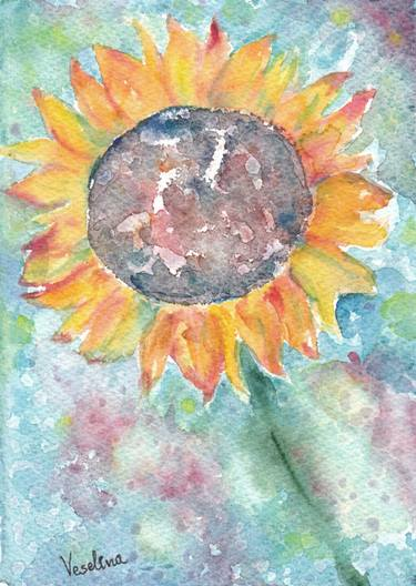 375x528 Watercolor Sunflower Painting Aquarelle Wall Art Decor Living Room
