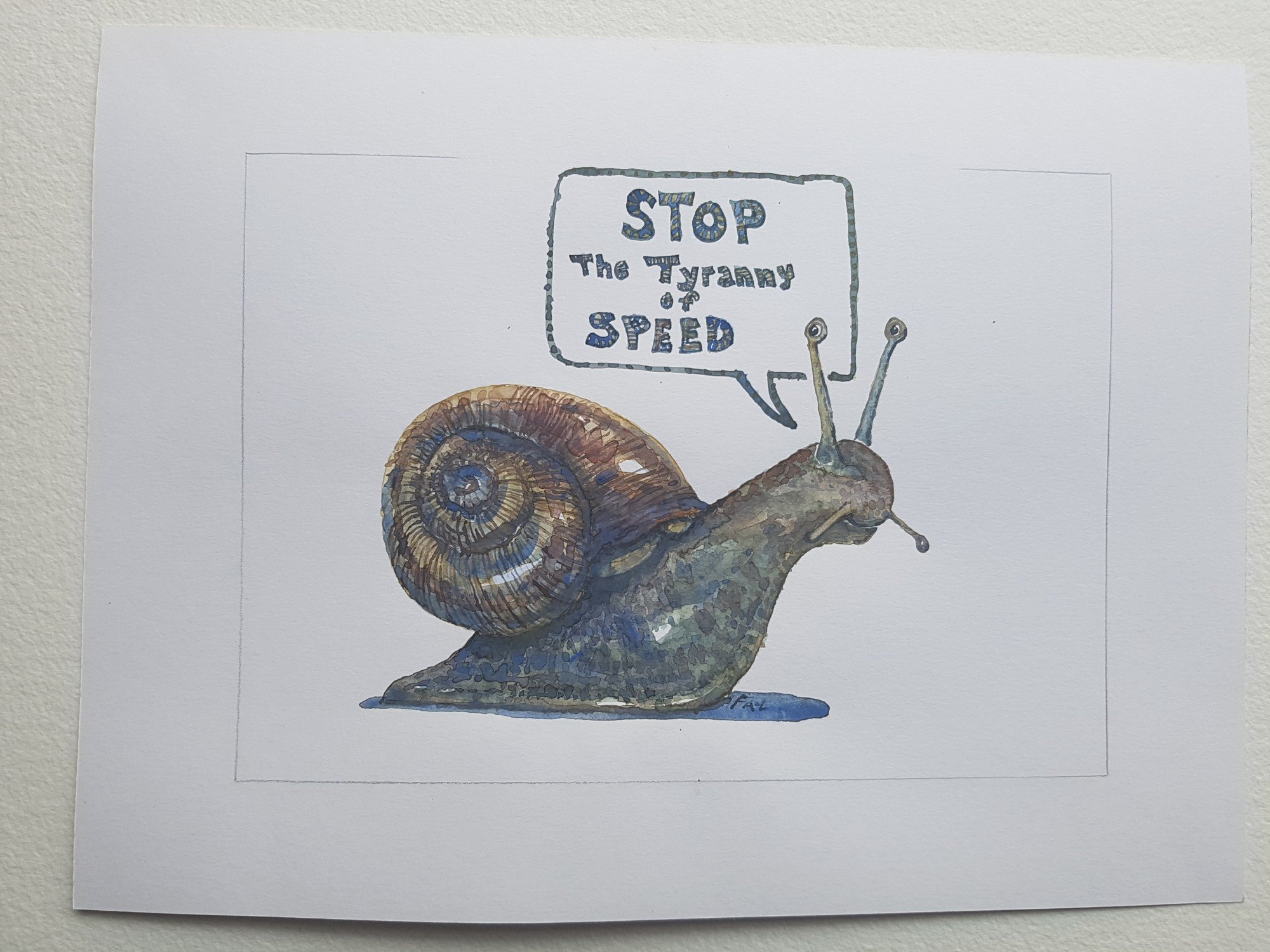 2000x1500 Original Snail Speak Speed Watercolor Frits Ahlefeldt Tictail