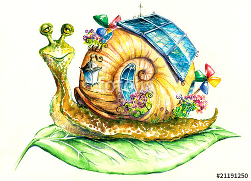 500x361 Snail In Eco House.my Own Watercolor Painting. Stock Photo And