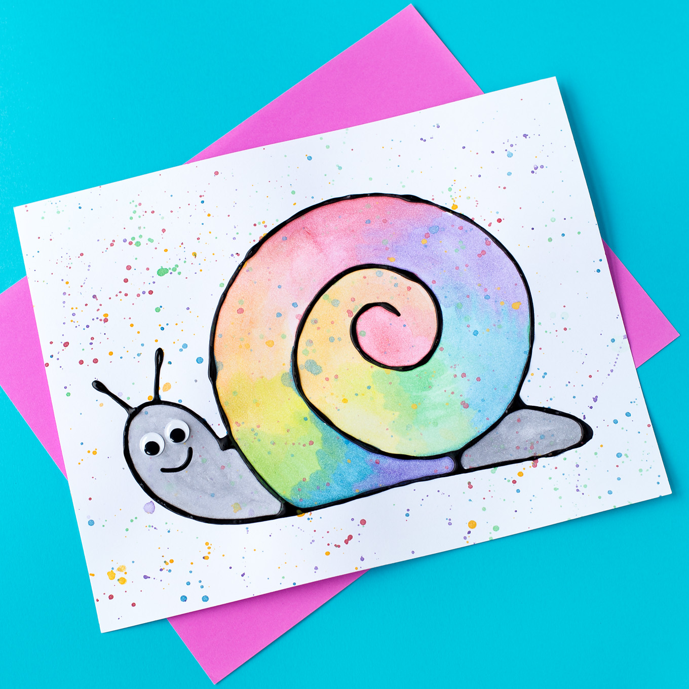 1360x1360 Black Glue And Watercolor Snail Art
