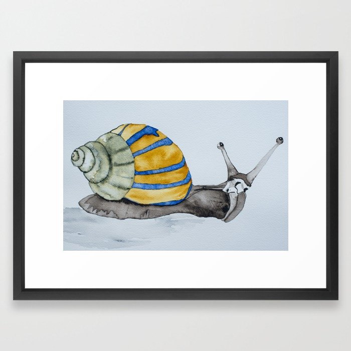 700x700 Colorful Snail Watercolor Painting Snail Shell Art Framed Art