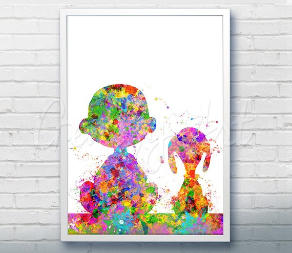570x494 Snoopy Charlie Brown Peanuts Watercolor Art Poster Print Etsy