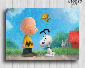 340x270 Snoopy Charlie Brown Watercolor Art Print The Peanuts Movie