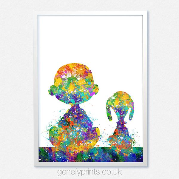 600x600 Snoopy And Charlie Brown Watercolor Print