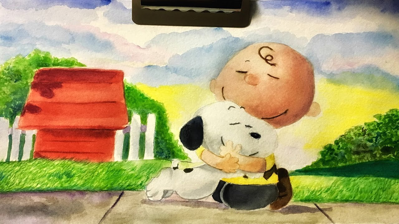 1280x720 The Peanuts Movie Watercolor Painting Charlie Brown And Snoopy