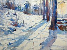 Snow Scene Watercolor Painting