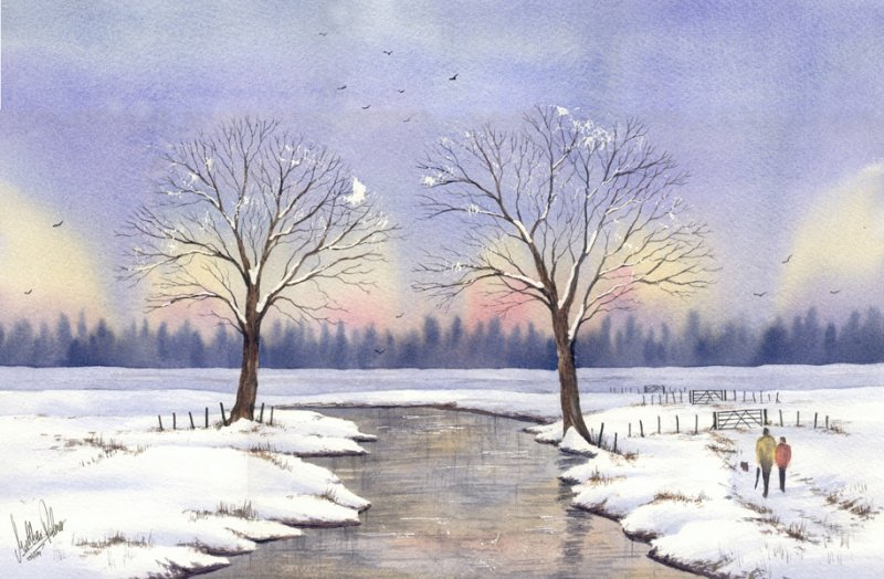 800x524 Snow Lake Scene Watercolour Painting Canvas Art