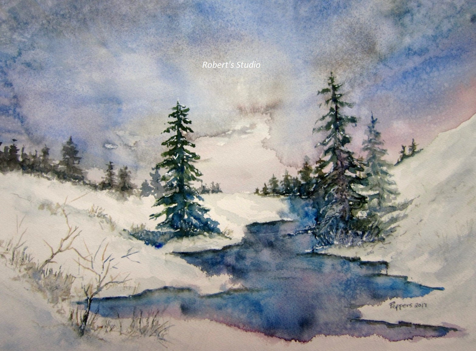 1566x1154 Watercolor Landscape Archival Print Winter Painting Winter Etsy