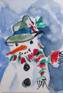 203x300 Aceo Carrot Nose Snowman Whimsical Miniature Watercolor Painting