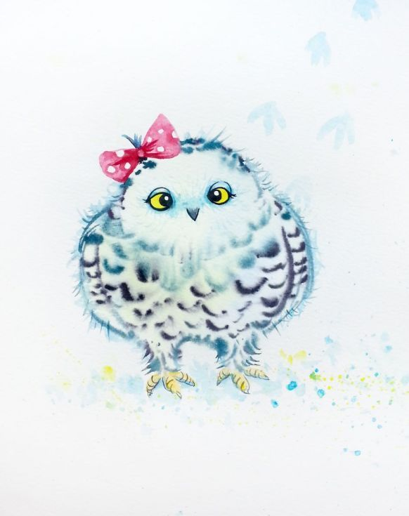 582x735 Funny Snowy Owl Snowy Owl, Owl Watercolor And Owl