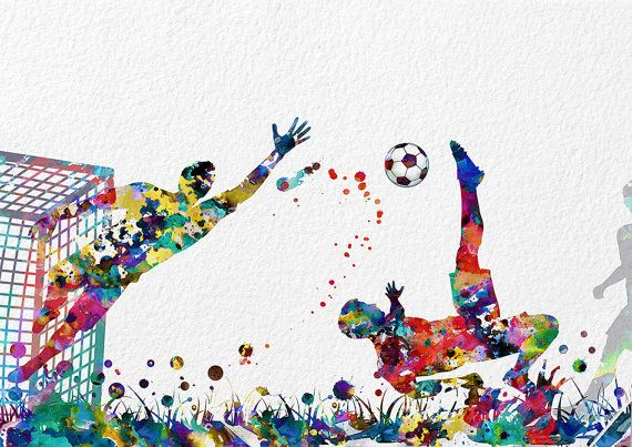 570x403 Soccer Watercolor Print Football Match Archival Print Soccer