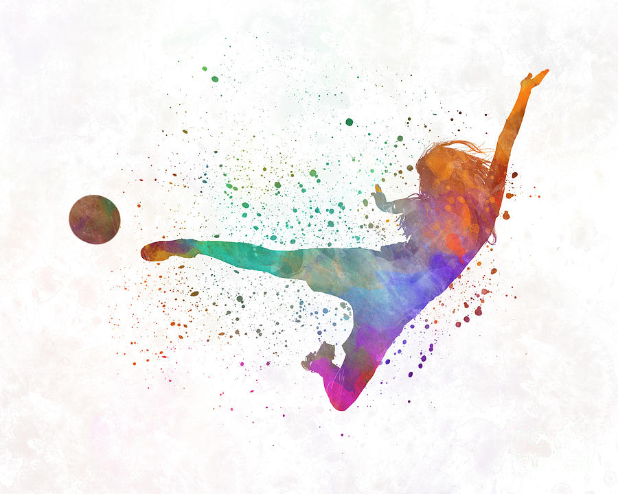 900x720 Woman Soccer Player 02 In Watercolor Painting By Pablo Romero