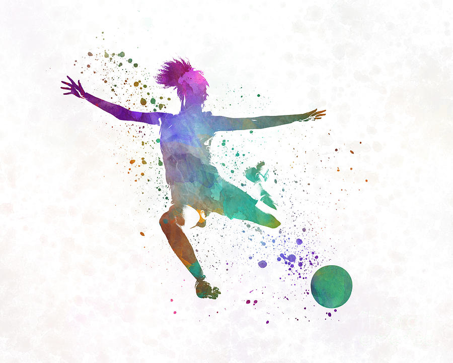 900x720 Woman Soccer Player 03 In Watercolor Painting By Pablo Romero