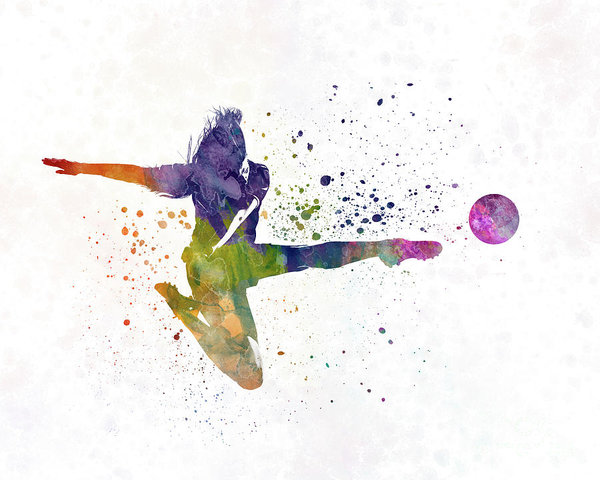 600x480 Woman Soccer Player 04 In Watercolor Art Print By Pablo Romero