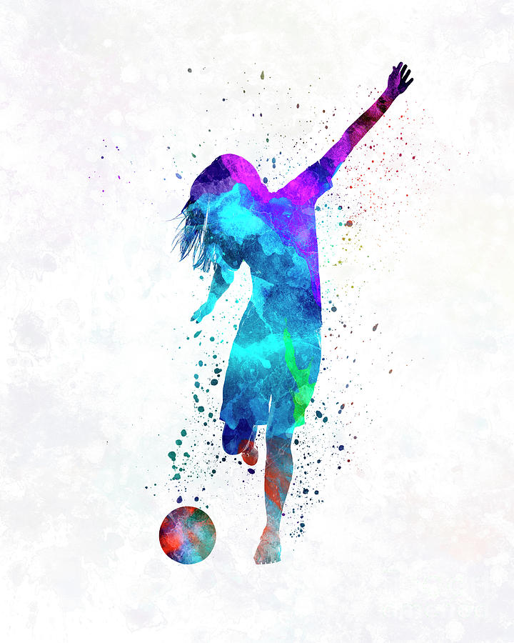 720x900 Woman Soccer Player 05 In Watercolor Painting By Pablo Romero