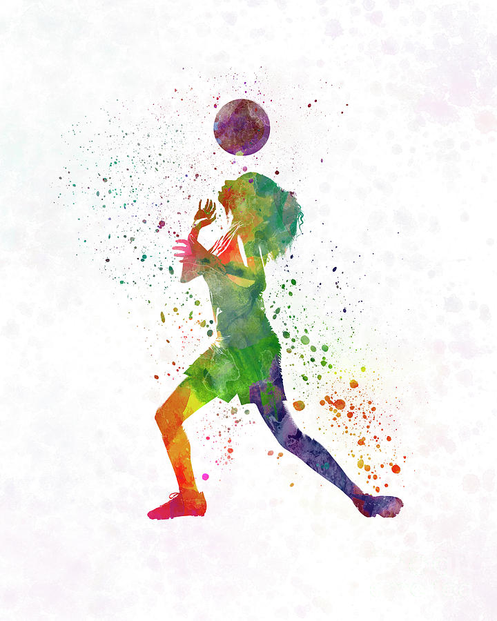 720x900 Woman Soccer Player 06 In Watercolor Painting By Pablo Romero