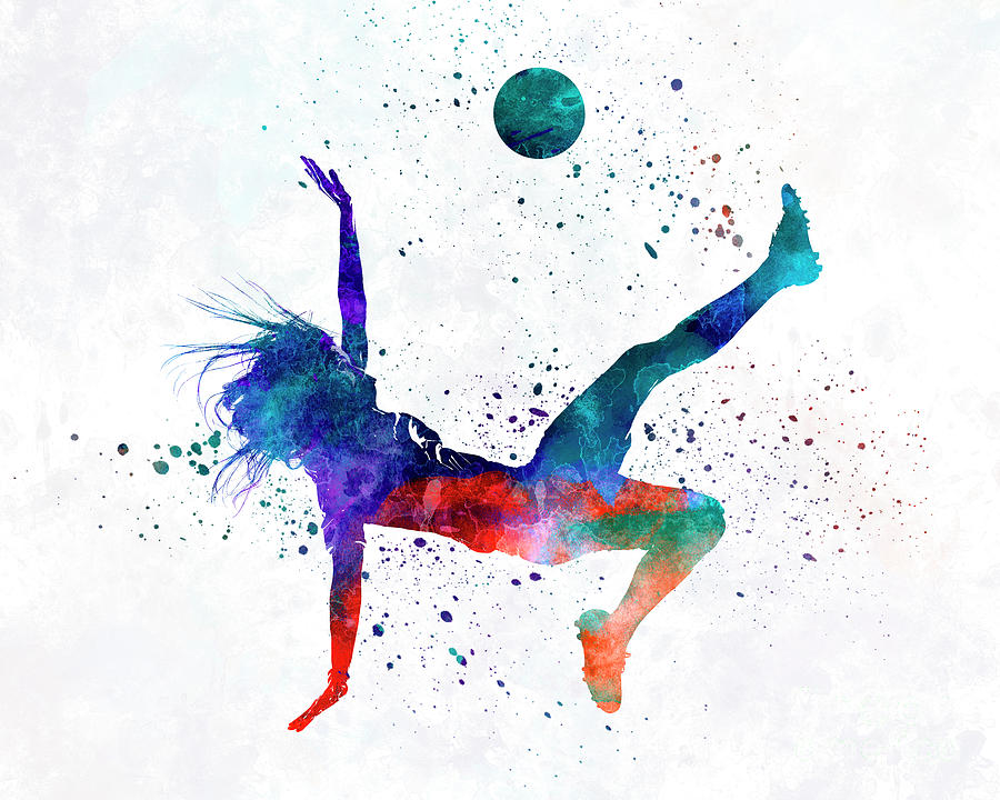 900x720 Woman Soccer Player 08 In Watercolor Painting By Pablo Romero