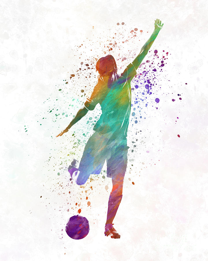 720x900 Woman Soccer Player 09 In Watercolor Painting By Pablo Romero