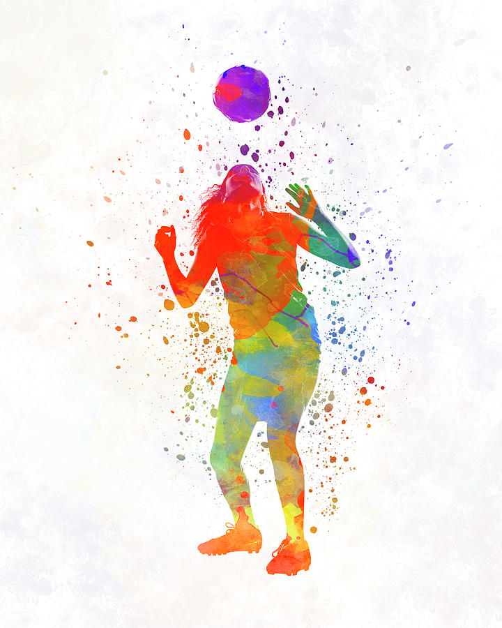 720x900 Woman Soccer Player 13 In Watercolor Painting By Pablo Romero