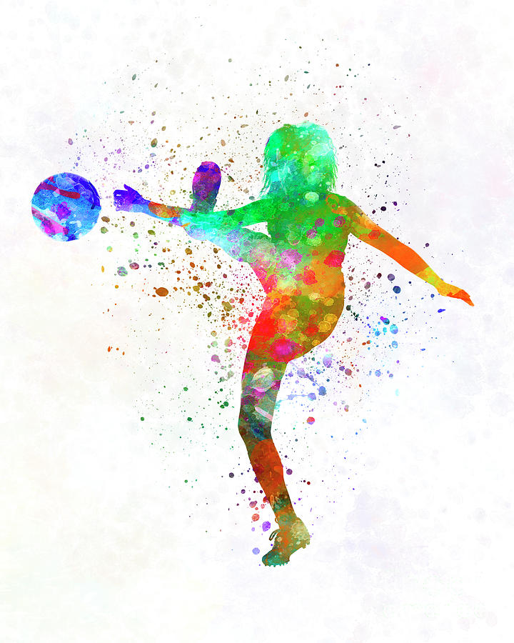 720x900 Woman Soccer Player 17 In Watercolor Painting By Pablo Romero