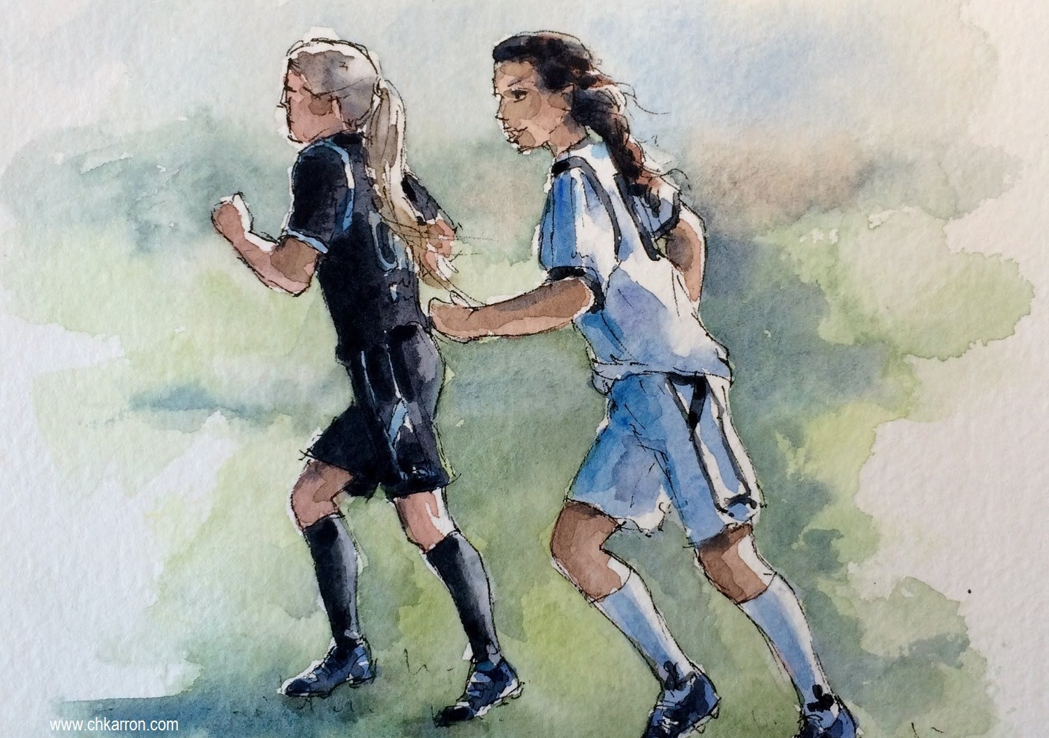 1503x1058 Pen Line Watercolor Sketch Speed Paint Girls Soccer Football By Ch