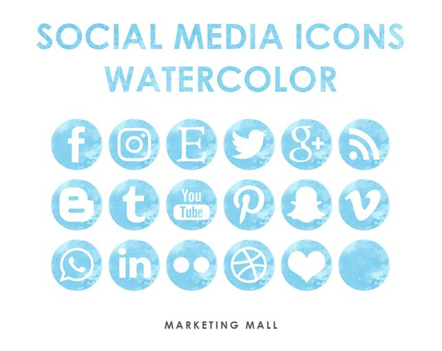 642x510 Watercolor Social Media Icons Blue Social Media Buttons Blue Etsy