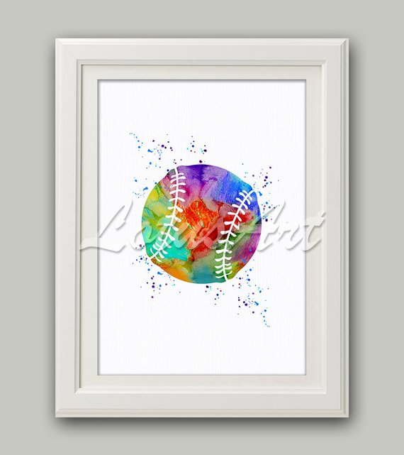 570x641 Colorful Baseball Ball 2 Watercolor Print Softball Ball Etsy