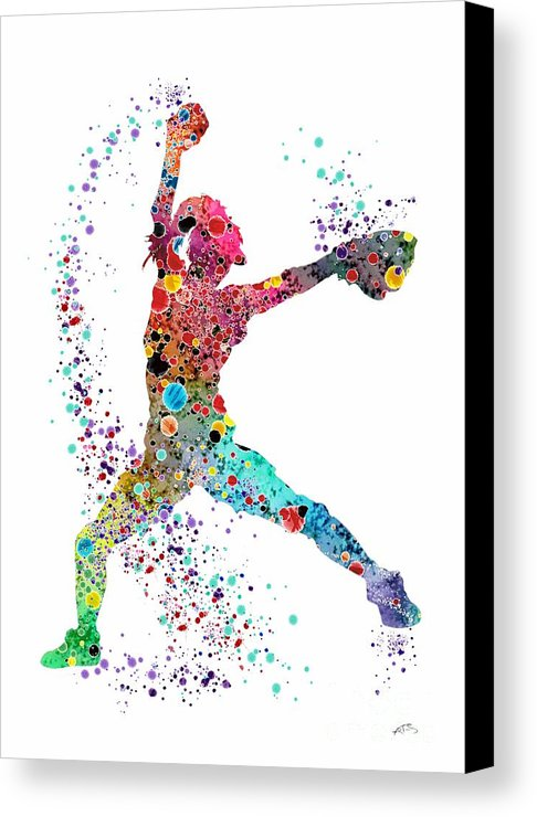 486x740 Baseball Softball Pitcher Watercolor Print Canvas Print Canvas
