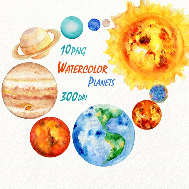 642x642 Planets Clipart Solar System Watercolor Science Clip Art Etsy