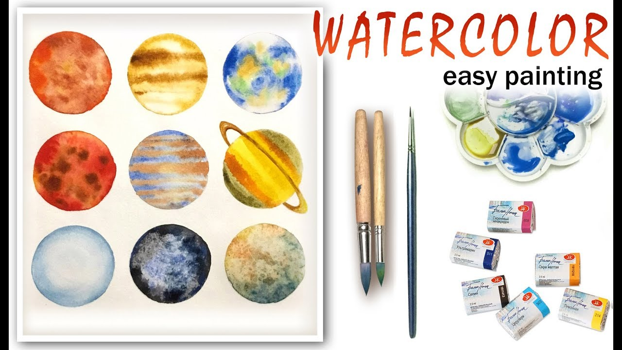 1280x720 Planets. Solar System How To Paint Tutorial For
