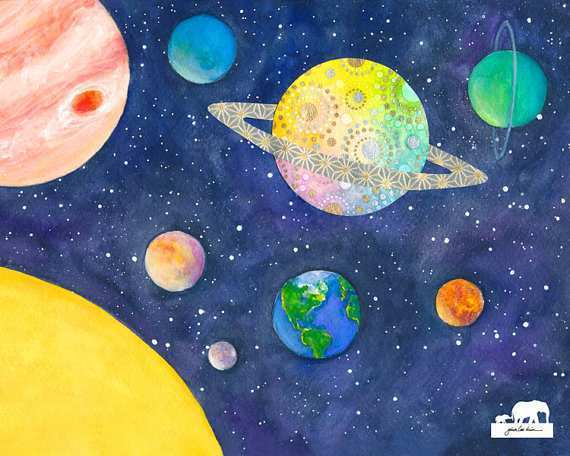 570x456 Solar System Painting Lovely Items Similar To Print Of A