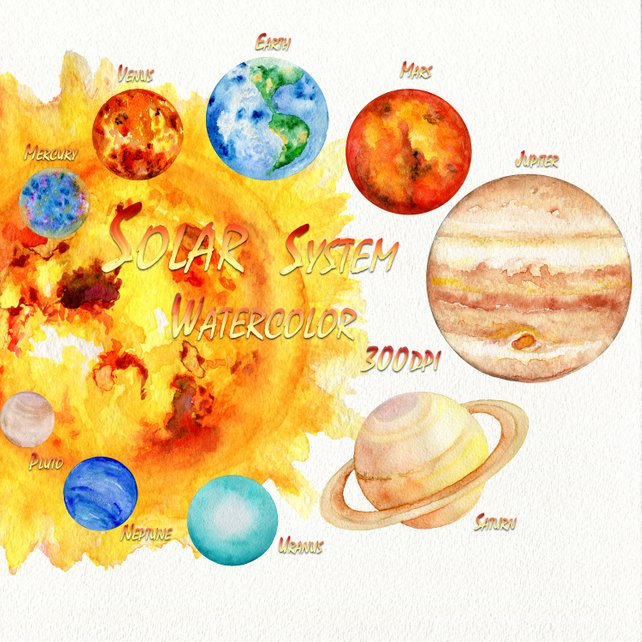 642x642 Solar System Planets Clipart Watercolor Science Clip Art Etsy