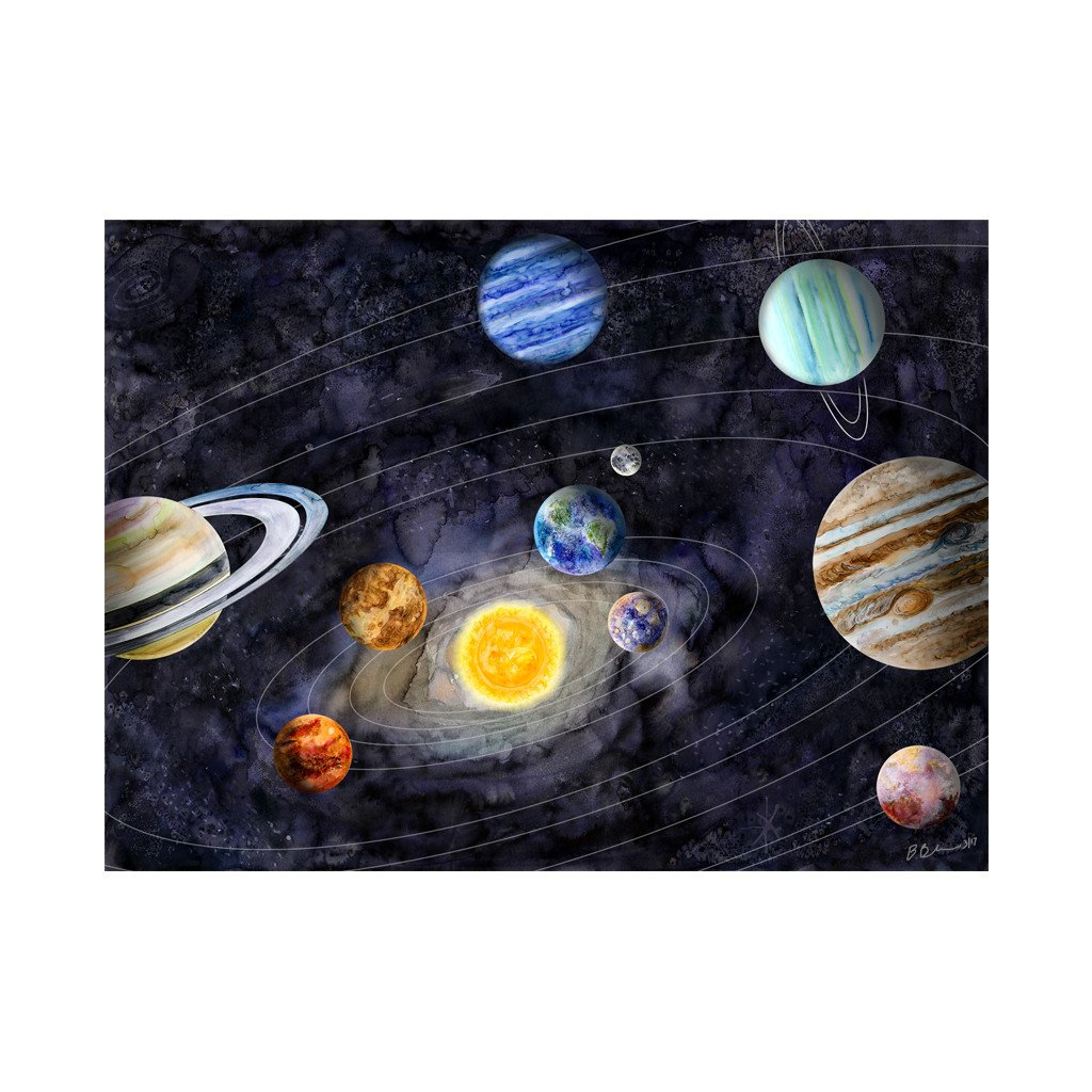 1024x1024 Solar System Watercolor Art Space Poster Print Tiny Toes Design