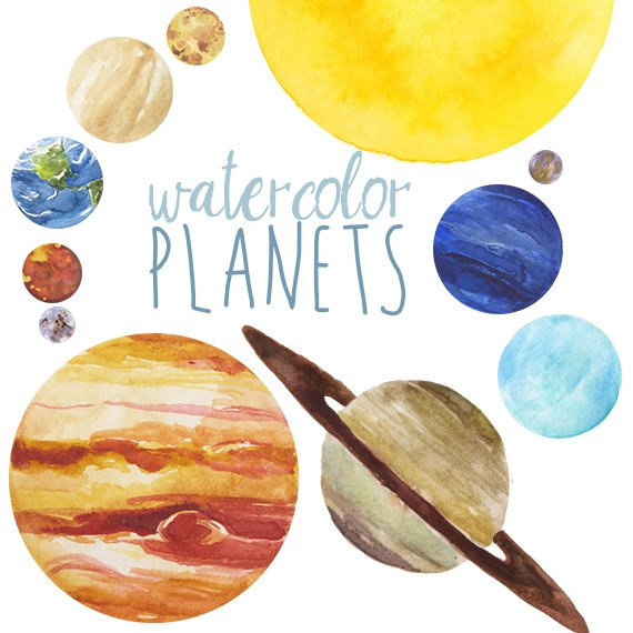 570x570 Watercolor Planets Clip Art Set Solar System Science Clip Etsy
